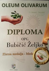 Diploma i zlatna medalja krasica 2018 Oleum olivarum